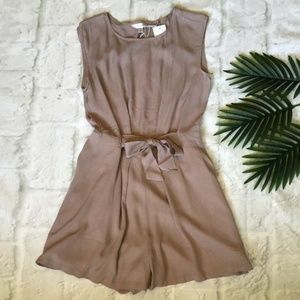 LOST APRIL Anthropologie Pale Mauve Bow Romper